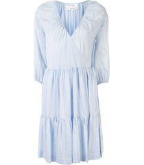designers remix tiered wrap flared dress - blue