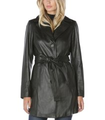 tahari belted leather trench coat