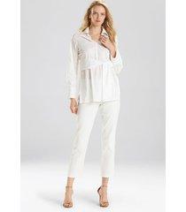 natori cotton poplin tie front tunic top, women's, white, size s natori
