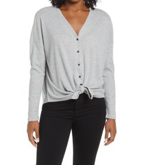 bobeau thermal knit button-up top, size x-small in heather grey at nordstrom