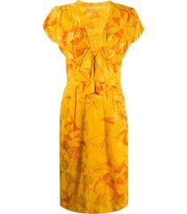 a.n.g.e.l.o. vintage cult 1980s tropical print dress - yellow