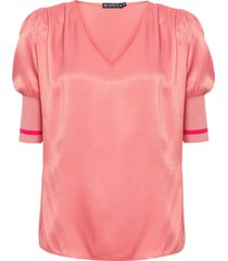 blusa feminina decote v - rosa
