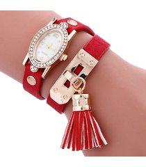 reloj pulsera rojo flecos re-26501