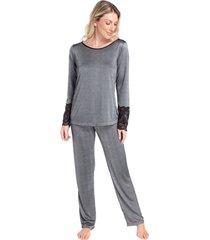 pijama feminino metalic black com renda - kanui