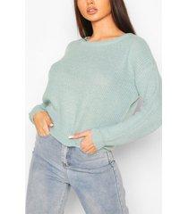 loose rib knit sweater, sage