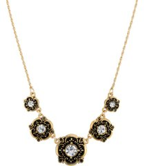 2028 gold-tone crystal bib necklace
