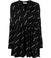 balenciaga logo-print v-neck dress