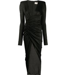 alexandre vauthier glittered ribbed wrap-effect dress - black