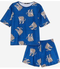 womens the purr-fect night cheetah pajama shorts set - navy