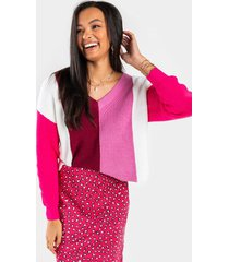 teanne colorblock pullover sweater - pink