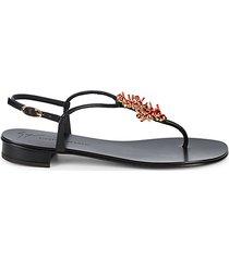 embellished leather thong sandals