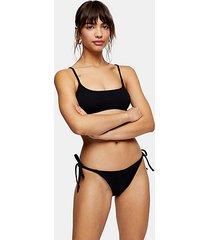 black crinkle high tie bikini bottoms - black
