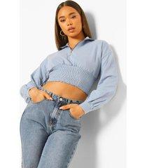geplooide loopback sweater met ballonmouwen, dusty blue