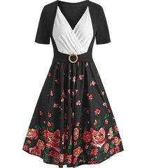 floral print contrast surplice dress