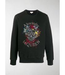 alexander mcqueen floral logo embroidered sweatshirt