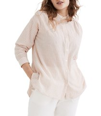 women's madewell banded collar tunic top, size small - pink