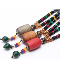 collana lunga etnica unisex collana vintage cilindro wenge bodhi collana con nappa in rilievo di legno
