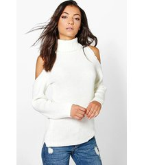 tall high neck cold shoulder sweater, ivory