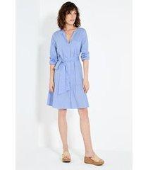 vestido botões faixa azul claro/p