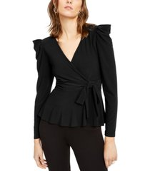 inc petite puff-shoulder wrap top, created for macy's