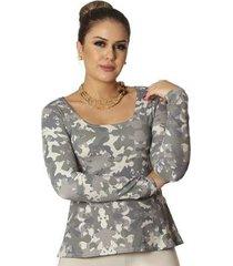 blusa ficalinda estampa camuflada exclusiva decote redondo evasê feminina