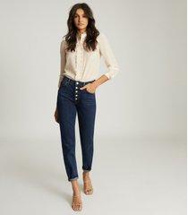 reiss jemma - ruffle detailed blouse in blush, womens, size 14