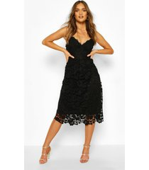 midi-jurk met kanten bandjes en gehaakt kant, zwart