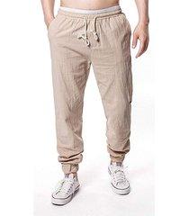 hombres verano algodón transpirable lino casual bolsillo cordón pantalones