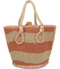 drew striped jute satchel