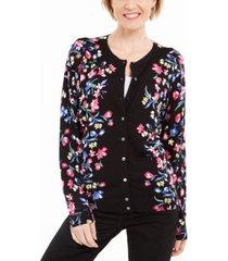 karen scott festive fields floral button cardigan, created for macy's