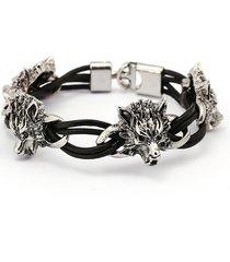 bracciale punk polsino lupo testa corda cera avvolgimento elastico braccialetto braccialetto gioielli etnici per gli uomini