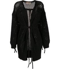 maison flaneur belted open-knit cardigan - black