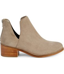 suede cutout ankle booties