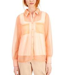 alfani sheer collared shirt, created for macy's