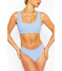korte getextuurde gingham bikini met hoge taille, blauw