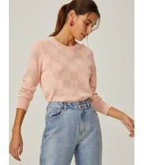 amaro feminino suéter leve textura geométrica, rosa queimado