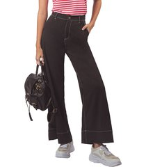 pantalón pmp negro con costuras en contraste