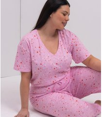 calca de pijama algodao estampa estrela curve e plus size rosa.