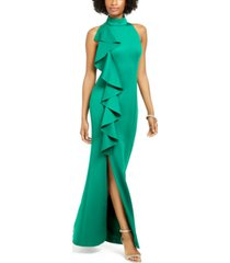 jessica howard ruffled-front halter gown