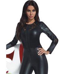 vrouwelijke jumpsuit van ecoleder met kant (s & m)