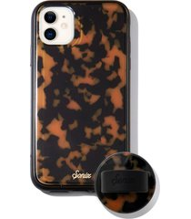 sonix brown tort iphone 11 case & slide silicone phone ring - brown