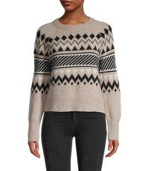 360 cashmere women's chevron & stripe cashmere sweater - chalk multi - size xs