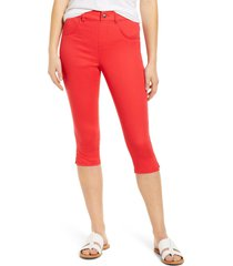 women's hue ultrasoft high waist capri denim leggings, size x-small - red