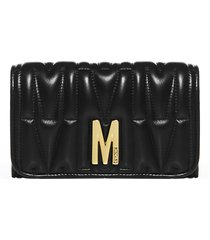 moschino m quilted leather mini clutch bag