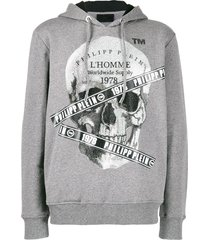 philipp plein rhinestone skull print hoodie - grey