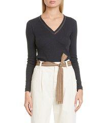 women's brunello cucinelli monili inset cotton blend knit top