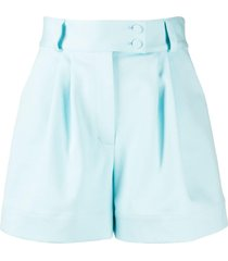 styland belted pleated waist shorts - blue
