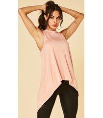 rosa hendidura diseño redonda cuello camisetas sin mangas