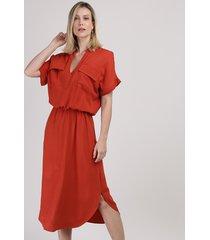 vestido chemise feminino com bolsos decote v manga curta laranja