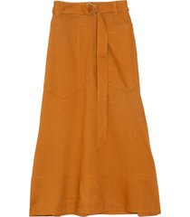 linen utility skirt in cinnamon